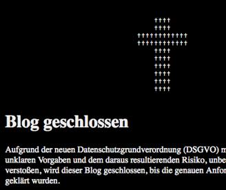 Blog geschlossen DSGVO